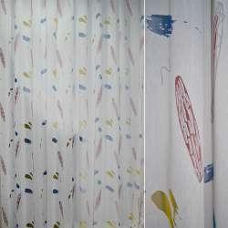 Полуорганза деворе белая с красным, синим, желтым абстрактным рисунком