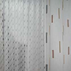 Полуорганза деворе белая с серыми, красными и желтыми короткими полосками ш.280