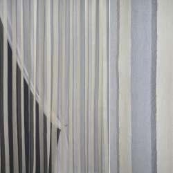 Органза деворе серо-голубая с бежево-серыми полосами