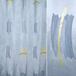 Органза деворе блакитна з атласними смужками з жовтою абстракцією