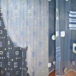 Органза деворе блакитна з абстрактним малюнком