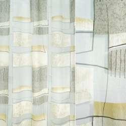 Органза деворе белая с серо-песочной абстракцией