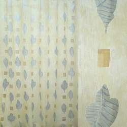 Органза деворе грязно-желтая с голубыми листьями