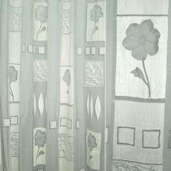 Органза деворе с серыми цветами и серыми квадратами