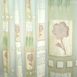 Органза деворе с розовыми цветами и желто-песочными квадратами