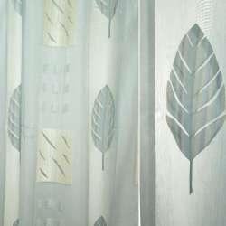 Органза деворе белая с бежево-голубыми листьями