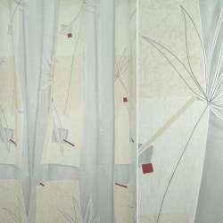 Органза деворе біла з бежевою абстракцією і пальмової гілкою