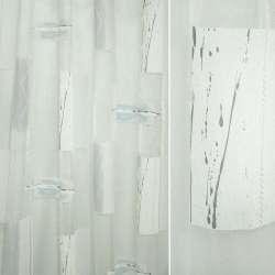 Органза деворе біла в прямокутники з сірим абстрактним малюнком