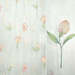 Органза деворе біла з великими рожевими квітами