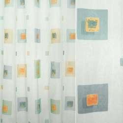 Органза деворе біла з різнокольоровими квадратами
