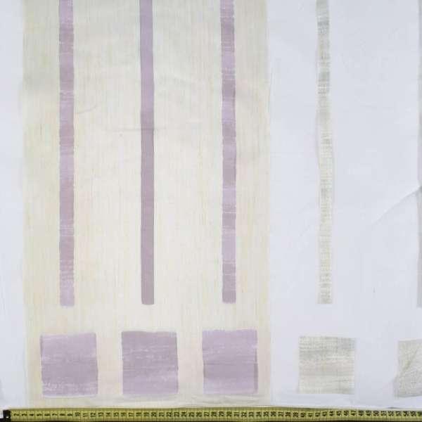 органза деваре белая с молочн.,серыми и баклаж.полос.