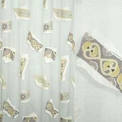 Органза деворе белая с серо-песочным орнаментом