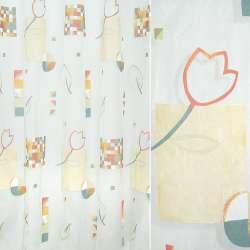 Органза деворе белая с разноцветными квадратами и цветами
