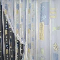 Органза деворе белая с голубыми и бежевыми цветами