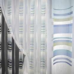 Органза деворе белая с голубыми, салатовыми полосами и квадратами