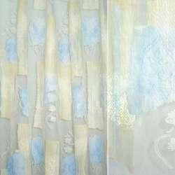 Органза деворе біла з блідо-жовтим і блакитним абстрактним малюнком