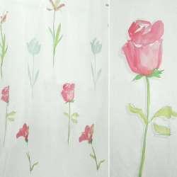 Органза деворе белая с розовыми розами и тюльпанами