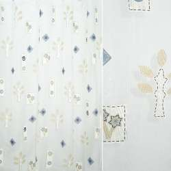 Органза деворе белая с бежево-синими квадратами, завитками, цветами