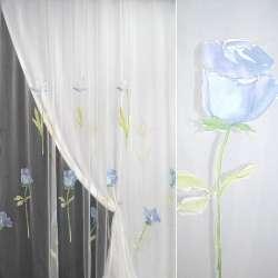 Органза деворе белая с голубыми розами