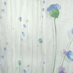 Органза деворе біла з бузково-блакитними квітами