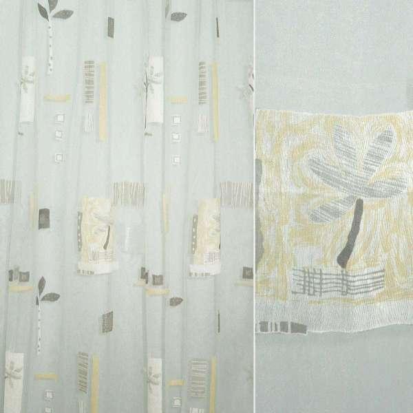 Органза деворе белая с серо-желтой абстракцией