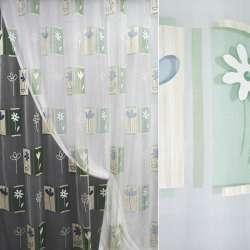Органза деворе біла з зелено-блакитний абстракцією і квітами