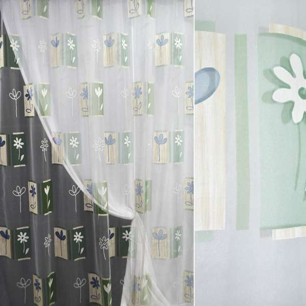Органза  Деваре  белая  с  зелен-голуб.  абс.  и цвет
