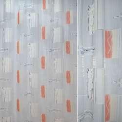 Органза деворе біла з рожевими квадратами і абстрактним малюнком ш.290