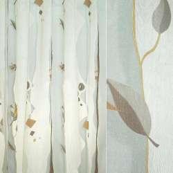 Органза деворе бежевая светлая с коричневыми листьями