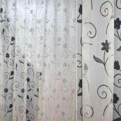 Органза деворе белая с серыми завитками и цветами