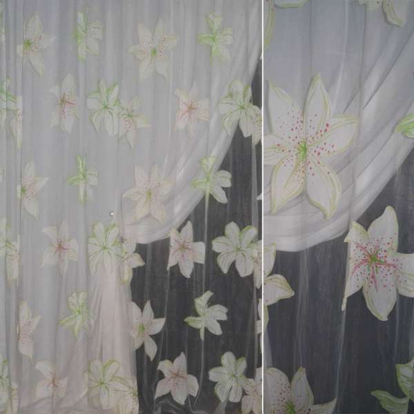 Органза деворе белая с салатовыми цветамиш.295