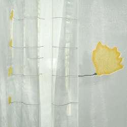 Органза деворе біла з жовтими квітами