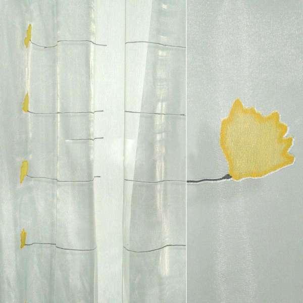 Органза деворе белая с желтыми цветами