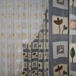 Органза деворе біла з бежевими квадратами з квітами і листочками