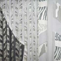 Органза деворе белая серый принт зебра, леопард