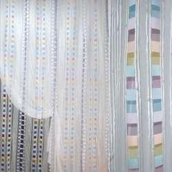 Органза деворе белая в тонкую атласную полоску и разноцветные квадраты ш.290