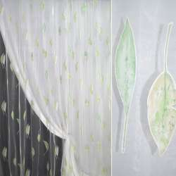 Органза деворе белая с зелеными листьями