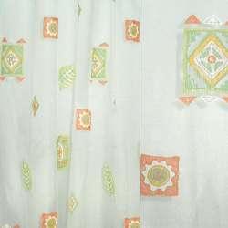 Органза деворе з оранжево-зеленими квадратами з візерунком