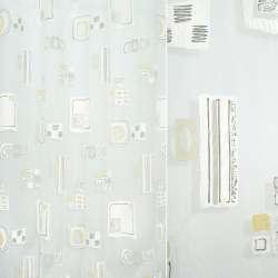 Органза деворе белая с коричнево-желтым абстрактным рисунком