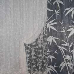 Органза деворе белая с пальмовыми веточками ш.300