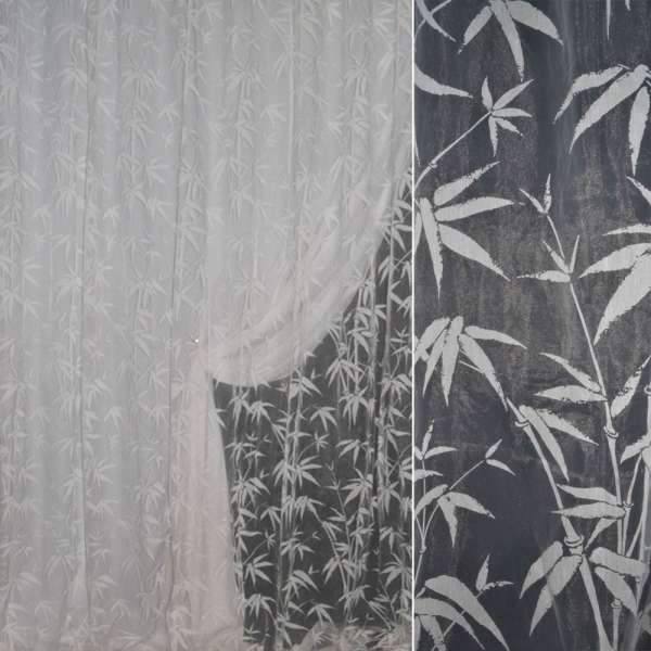 Органза  Деворе белая с пальмов. веточками ш.300