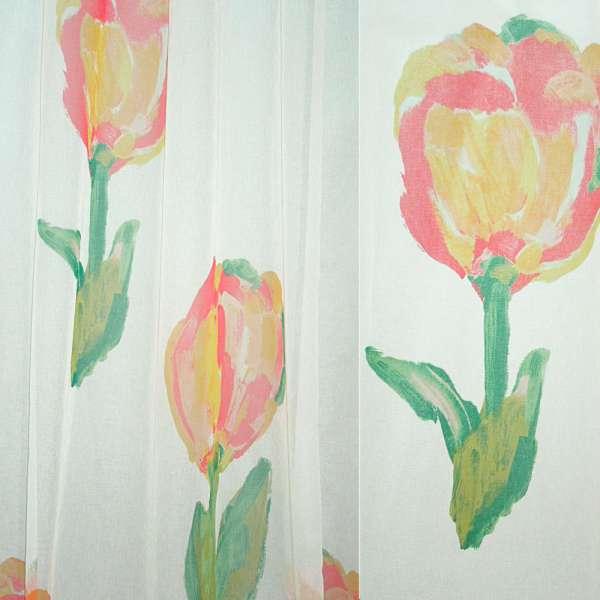 ткань гардин. белая с желто-красн. тюльпанами ш.300