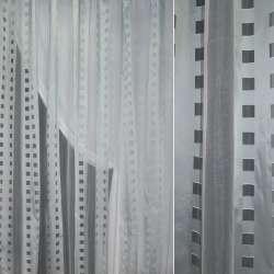 Органза біла в світло-сірі смуги з квадратами ш.250