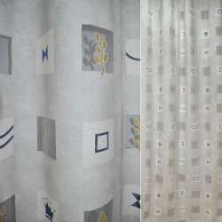 Органза деворе сіра з абстрактним малюнком в квадратах