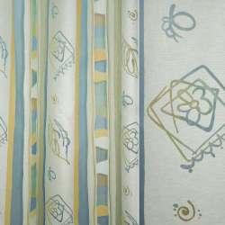 Органза деворе жовто-блакитні смуги з абстрактним малюнком ш.140