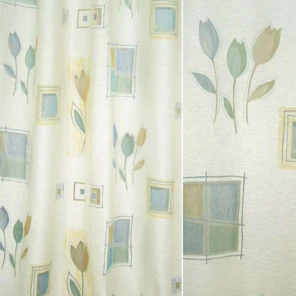 органза деваре молочная с разноцвет.тюльпанами и квадр