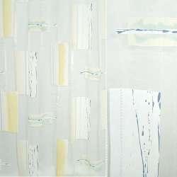 Органза деворе белая с желтыми квадратами и абстрактными рисунками