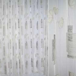 """вуаль """"Деваре"""" молочная с бежево-серым рисунком ш.280"""