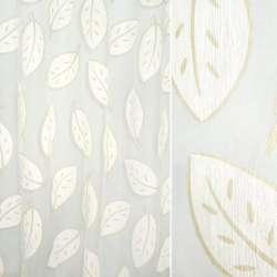 Органза деворе біла з бежевими листям