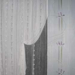 Органза деворе белая с оливковой абстракцией ш.290
